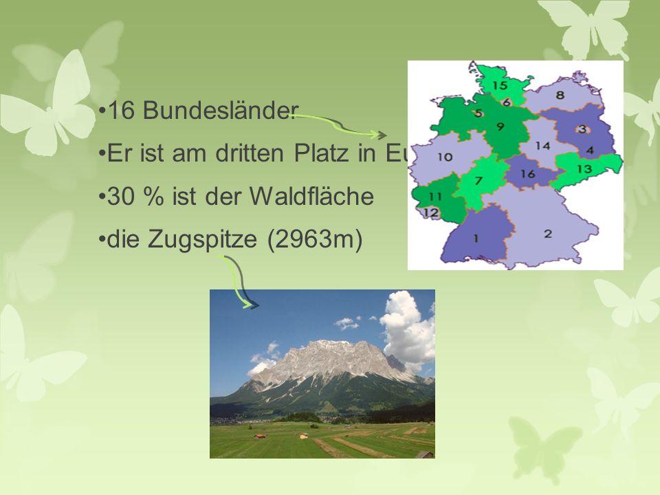 16 Bundesländer Er ist am dritten Platz in Europa 30 % ist der Waldfläche die Zugspitze (2963m)