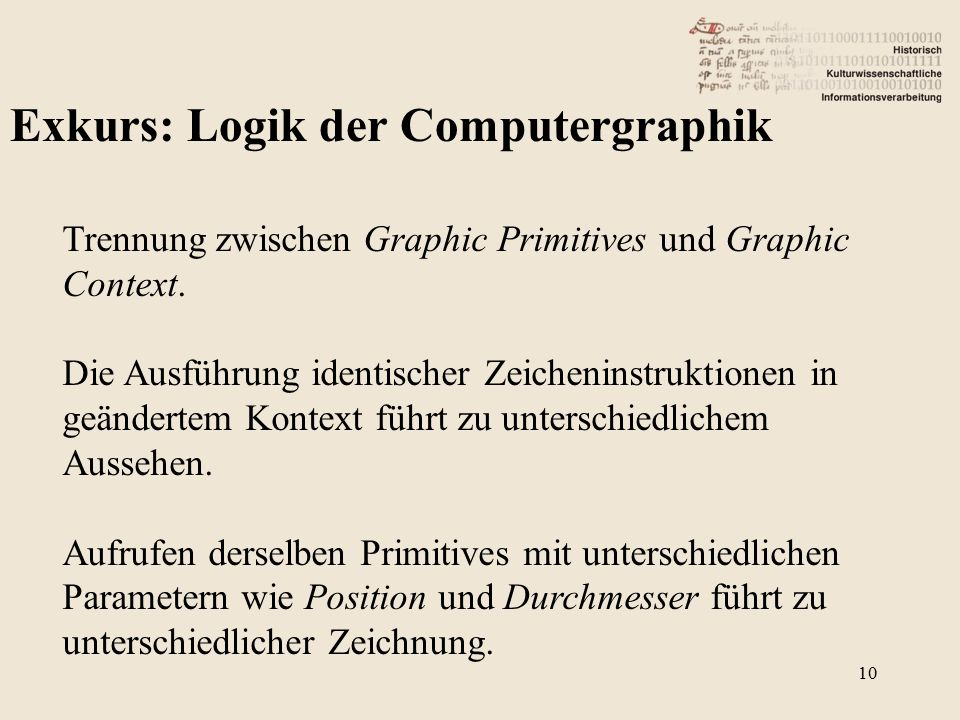 Exkurs: Logik der Computergraphik Trennung zwischen Graphic Primitives und Graphic Context.