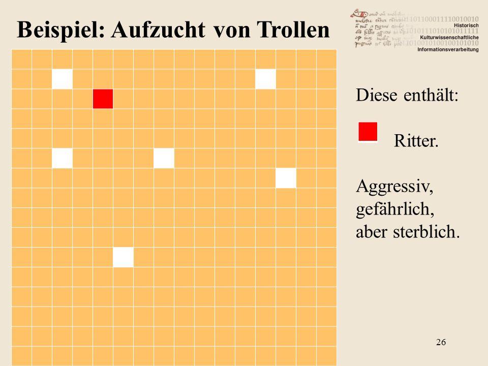 Beispiel: Aufzucht von Trollen Diese enthält: Ritter. Aggressiv, gefährlich, aber sterblich. 26