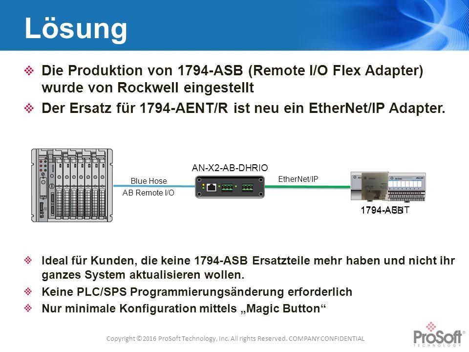 1794-AENT Lösung Die Produktion von 1794-ASB (Remote I/O Flex Adapter) wurde von Rockwell eingestellt Der Ersatz für 1794-AENT/R ist neu ein EtherNet/IP Adapter.