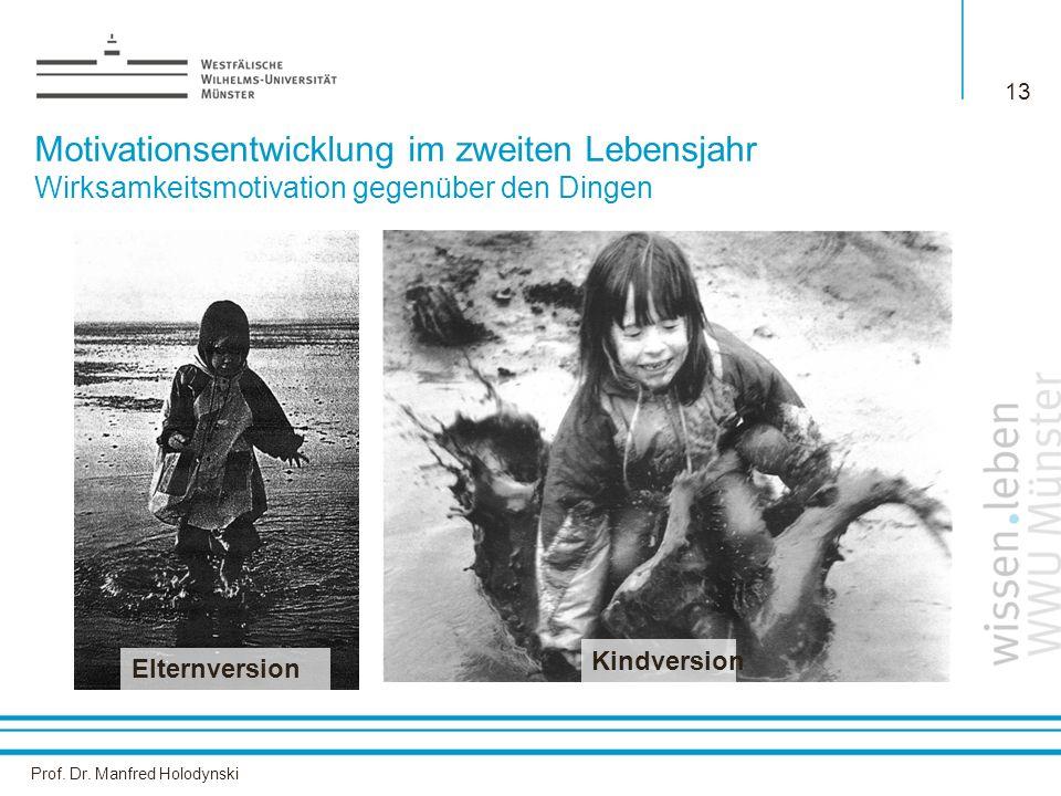 Prof. Dr. Manfred Holodynski 13 Elternversion Kindversion Motivationsentwicklung im zweiten Lebensjahr Wirksamkeitsmotivation gegenüber den Dingen