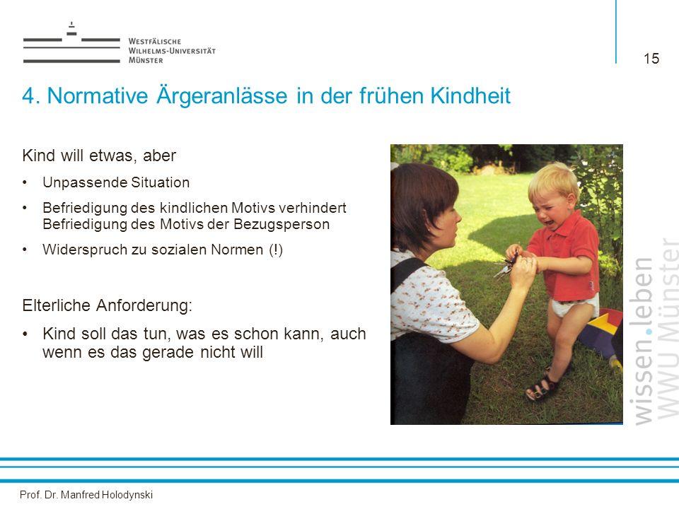 Prof. Dr. Manfred Holodynski 15 4. Normative Ärgeranlässe in der frühen Kindheit Kind will etwas, aber Unpassende Situation Befriedigung des kindliche