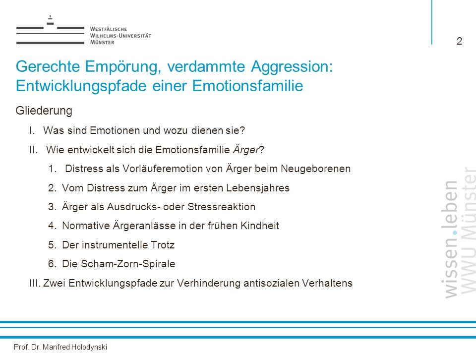 Prof. Dr. Manfred Holodynski 2 Gerechte Empörung, verdammte Aggression: Entwicklungspfade einer Emotionsfamilie Gliederung I.Was sind Emotionen und wo