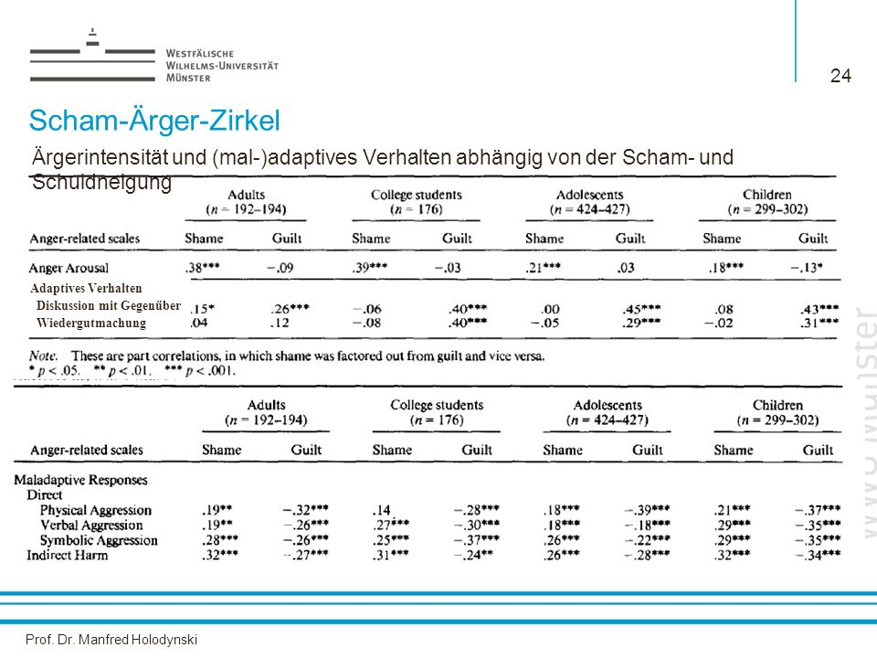 Prof. Dr. Manfred Holodynski 24 Scham-Ärger-Zirkel Ärgerintensität und (mal-)adaptives Verhalten abhängig von der Scham- und Schuldneigung Adaptives V
