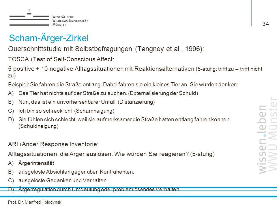 Prof. Dr. Manfred Holodynski 34 Scham-Ärger-Zirkel Querschnittstudie mit Selbstbefragungen (Tangney et al., 1996): TOSCA (Test of Self-Conscious Affec