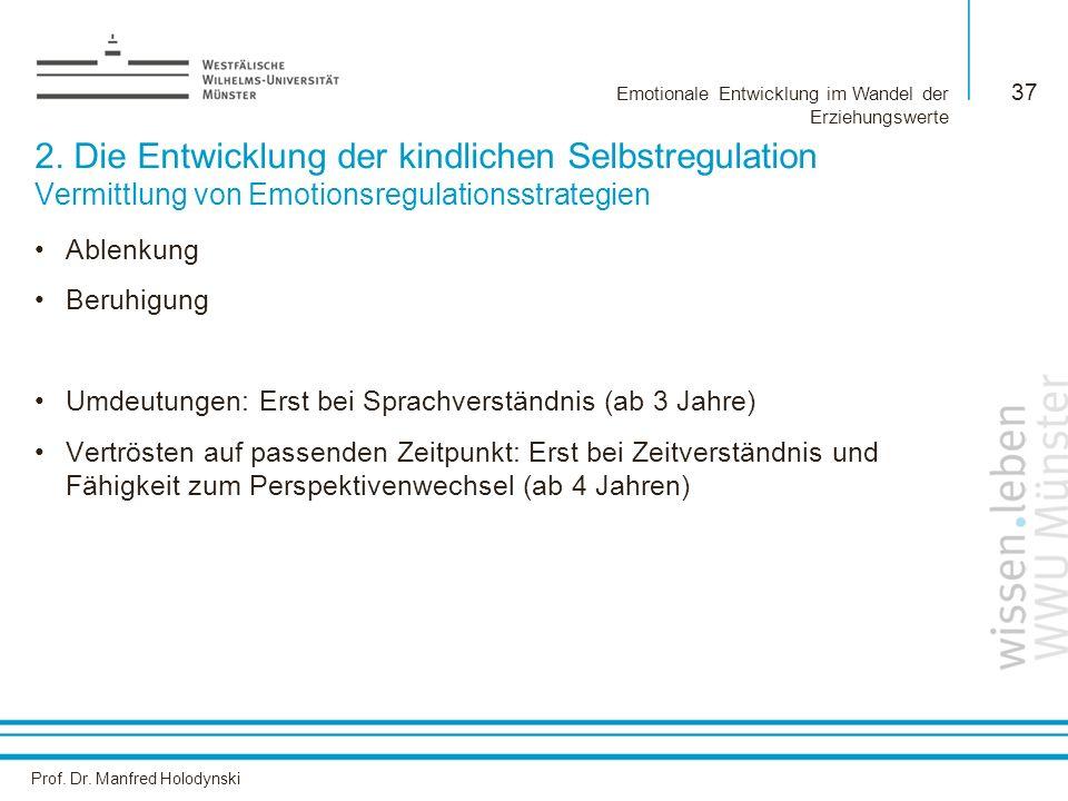 Prof. Dr. Manfred Holodynski Emotionale Entwicklung im Wandel der Erziehungswerte 37 2. Die Entwicklung der kindlichen Selbstregulation Vermittlung vo