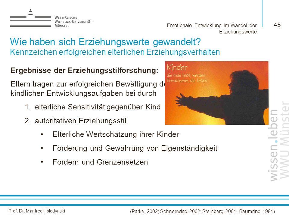 Prof. Dr. Manfred Holodynski Emotionale Entwicklung im Wandel der Erziehungswerte 45 Wie haben sich Erziehungswerte gewandelt? Kennzeichen erfolgreich
