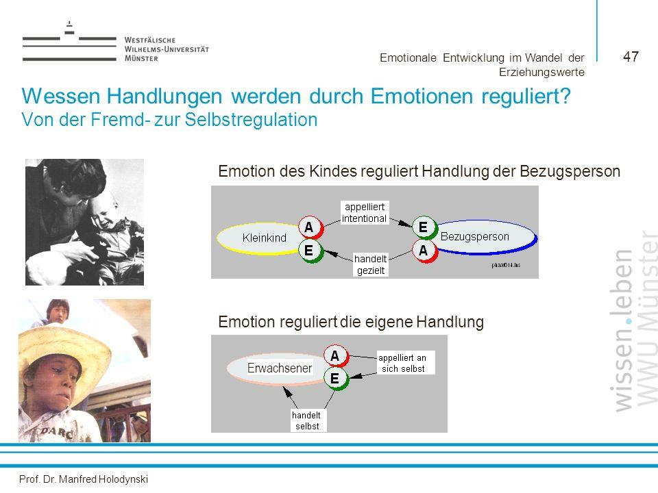 Prof. Dr. Manfred Holodynski Emotionale Entwicklung im Wandel der Erziehungswerte 47 Wessen Handlungen werden durch Emotionen reguliert? Von der Fremd