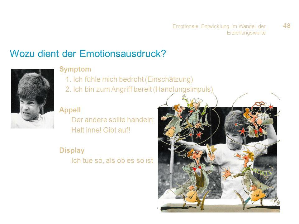 Emotionale Entwicklung im Wandel der Erziehungswerte 48 Wozu dient der Emotionsausdruck? Symptom 1. Ich fühle mich bedroht (Einschätzung) 2. Ich bin z