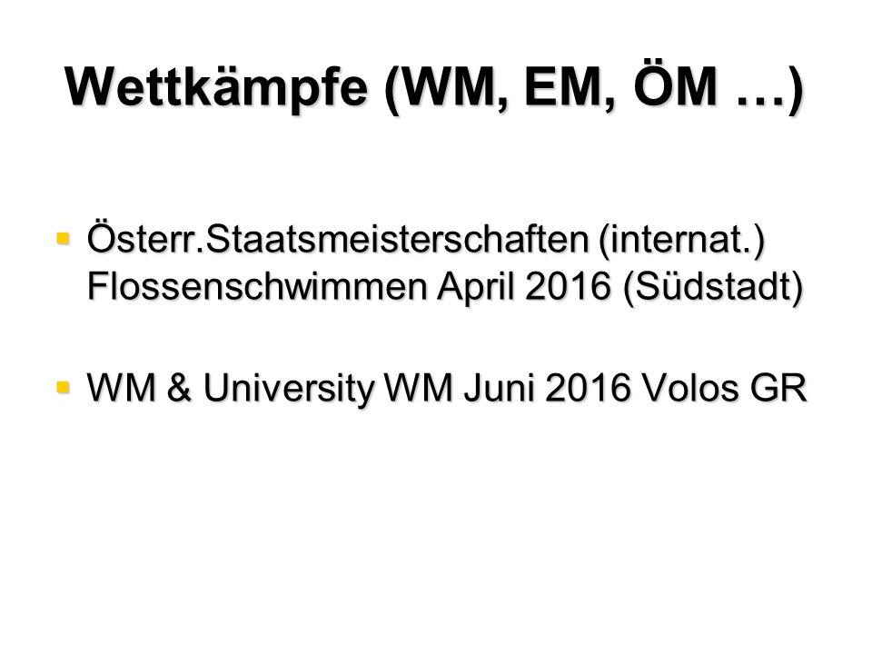 Wettkämpfe (WM, EM, ÖM …)  Österr.Staatsmeisterschaften (internat.) Flossenschwimmen April 2016 (Südstadt)  WM & University WM Juni 2016 Volos GR