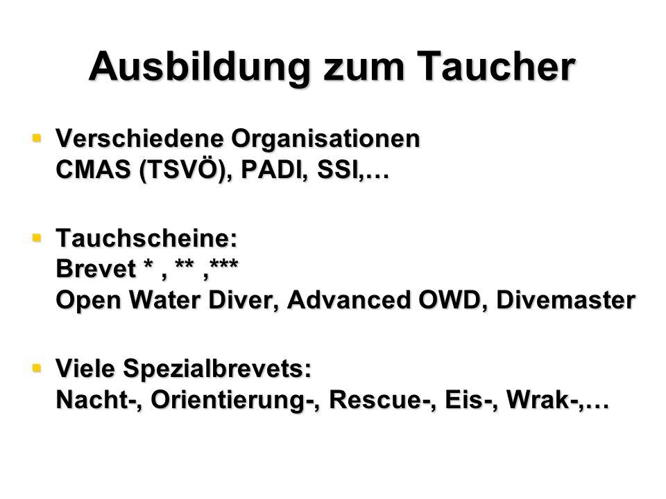 Ausbildung zum Taucher  Verschiedene Organisationen CMAS (TSVÖ), PADI, SSI,…  Tauchscheine: Brevet *, **,*** Open Water Diver, Advanced OWD, Divemaster  Viele Spezialbrevets: Nacht-, Orientierung-, Rescue-, Eis-, Wrak-,…