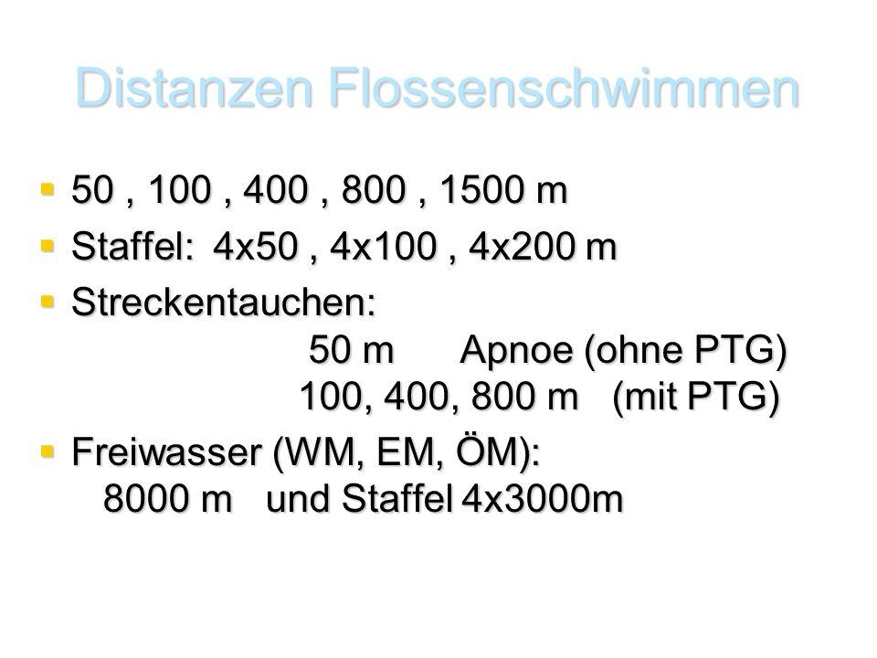 Distanzen Flossenschwimmen  50, 100, 400, 800, 1500 m  Staffel: 4x50, 4x100, 4x200 m  Streckentauchen: 50 m Apnoe (ohne PTG) 100, 400, 800 m (mit PTG)  Freiwasser (WM, EM, ÖM): 8000 m und Staffel 4x3000m