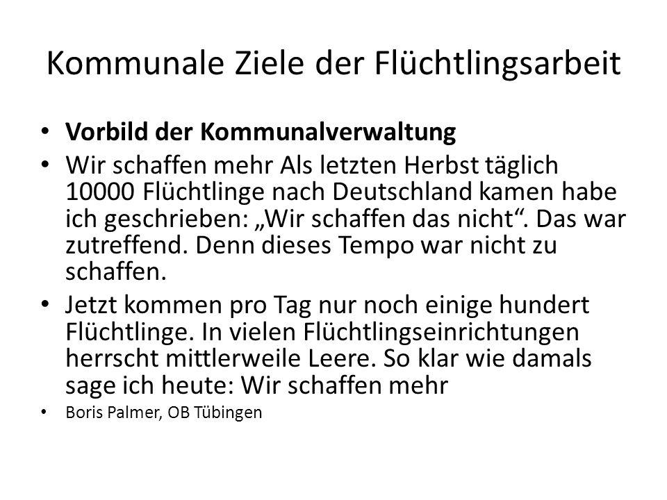 """Kommunale Ziele der Flüchtlingsarbeit Vorbild der Kommunalverwaltung Wir schaffen mehr Als letzten Herbst täglich 10000 Flüchtlinge nach Deutschland kamen habe ich geschrieben: """"Wir schaffen das nicht ."""
