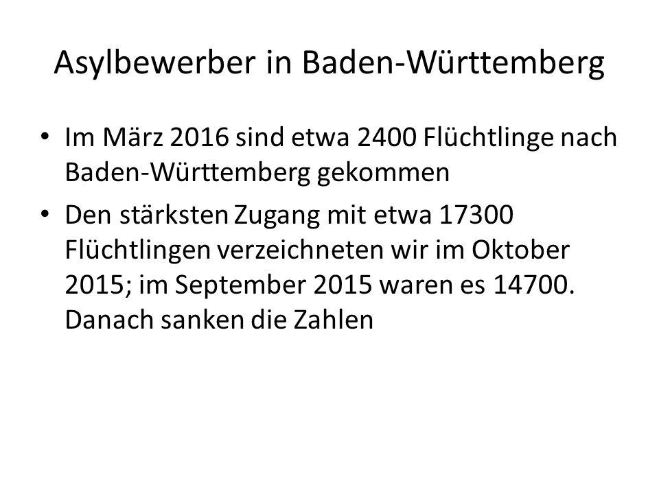 Asylbewerber in Baden-Württemberg Im März 2016 sind etwa 2400 Flüchtlinge nach Baden-Württemberg gekommen Den stärksten Zugang mit etwa 17300 Flüchtlingen verzeichneten wir im Oktober 2015; im September 2015 waren es 14700.