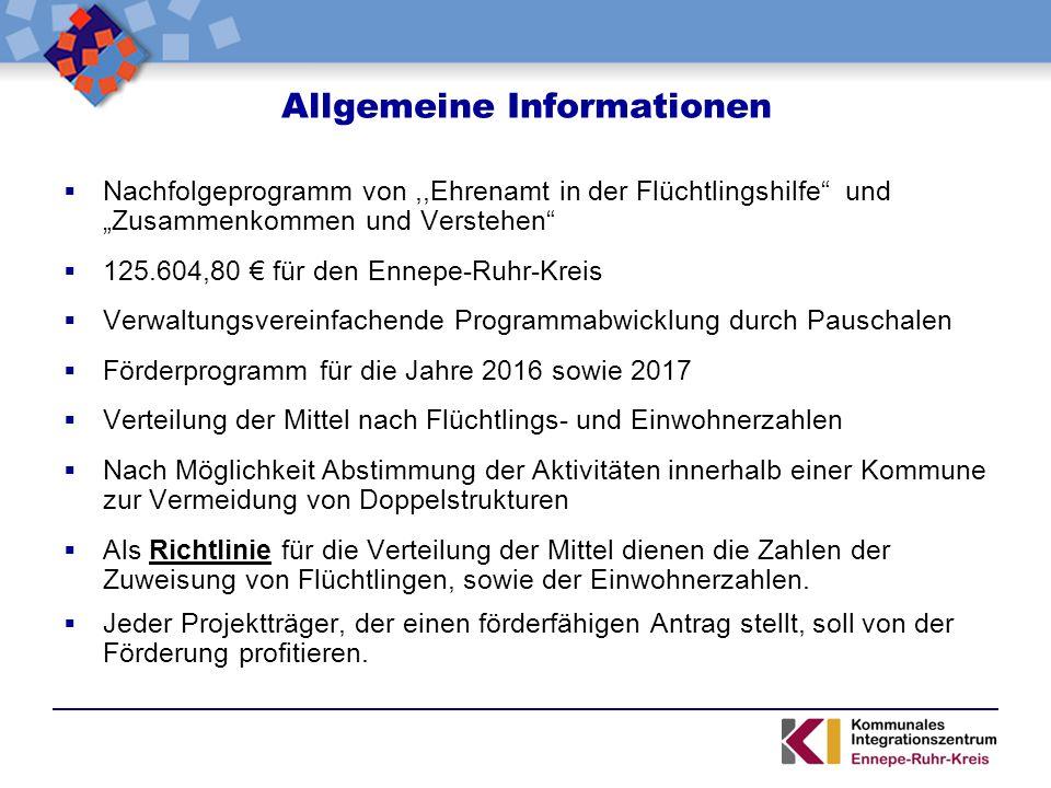 """Allgemeine Informationen  Nachfolgeprogramm von,,Ehrenamt in der Flüchtlingshilfe"""" und """"Zusammenkommen und Verstehen""""  125.604,80 € für den Ennepe-R"""