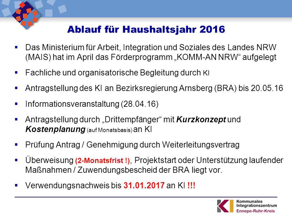 """ Das Ministerium für Arbeit, Integration und Soziales des Landes NRW (MAIS) hat im April das Förderprogramm """"KOMM-AN NRW"""" aufgelegt  Fachliche und o"""