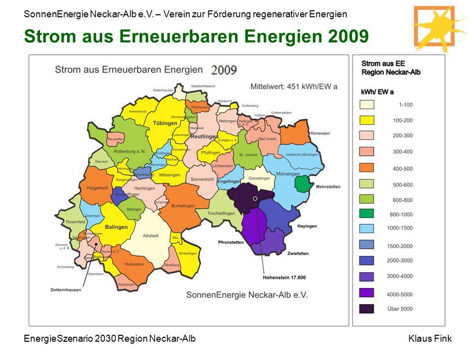 SonnenEnergie Neckar-Alb e.V. – Verein zur Förderung regenerativer Energien Klaus FinkEnergieSzenario 2030 Region Neckar-Alb Strom aus Erneuerbaren En