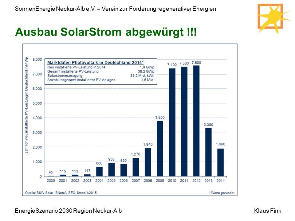 SonnenEnergie Neckar-Alb e.V. – Verein zur Förderung regenerativer Energien Klaus Fink Ausbau SolarStrom abgewürgt !!! EnergieSzenario 2030 Region Nec