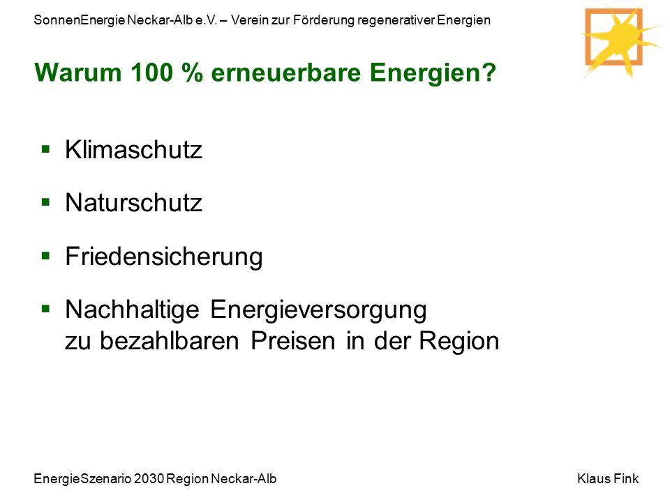 SonnenEnergie Neckar-Alb e.V. – Verein zur Förderung regenerativer Energien Klaus FinkEnergieSzenario 2030 Region Neckar-Alb  Klimaschutz  Naturschu
