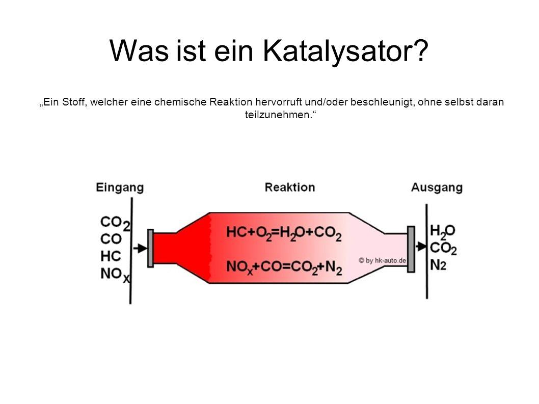 """Was ist ein Katalysator? """"Ein Stoff, welcher eine chemische Reaktion hervorruft und/oder beschleunigt, ohne selbst daran teilzunehmen."""""""