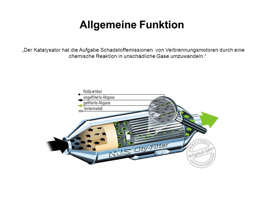 """Allgemeine Funktion """"Der Katalysator hat die Aufgabe Schadstoffemissionen von Verbrennungsmotoren durch eine chemische Reaktion in unschädliche Gase u"""