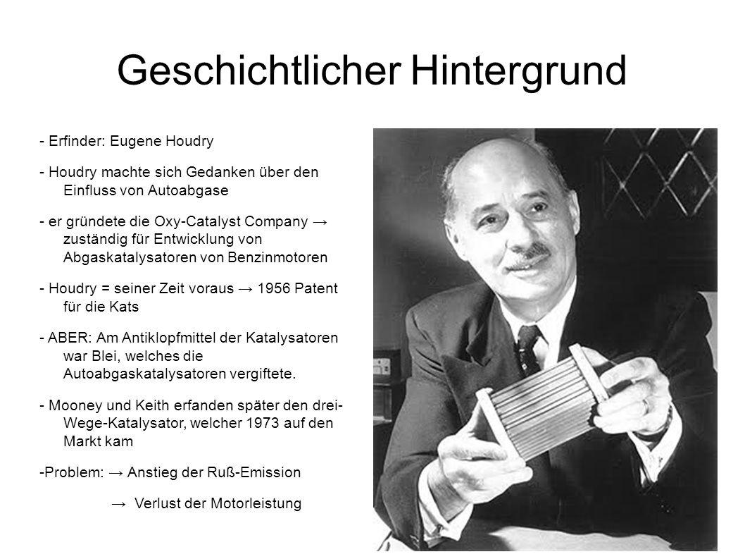 Geschichtlicher Hintergrund - Erfinder: Eugene Houdry - Houdry machte sich Gedanken über den Einfluss von Autoabgase - er gründete die Oxy-Catalyst Co