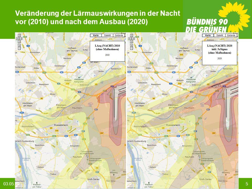 503.05.2013 BÜNDNIS 90/DIE GRÜNEN : GRÜNE Antworten auf den Fluglärm Veränderung der Lärmauswirkungen in der Nacht vor (2010) und nach dem Ausbau (2020)