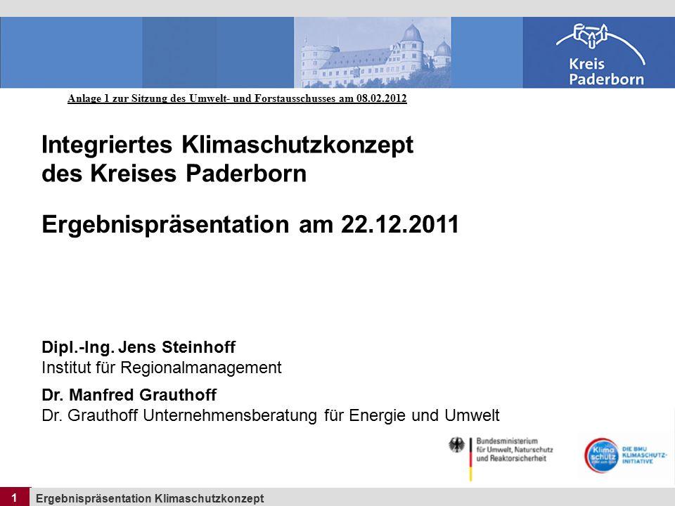 1 Ergebnispräsentation Klimaschutzkonzept 1 Integriertes Klimaschutzkonzept des Kreises Paderborn Ergebnispräsentation am 22.12.2011 Dipl.-Ing.