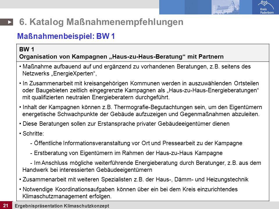 """21 Ergebnispräsentation Klimaschutzkonzept 21 BW 1 Organisation von Kampagnen """"Haus-zu-Haus-Beratung mit Partnern Maßnahme aufbauend auf und ergänzend zu vorhandenen Beratungen, z.B."""