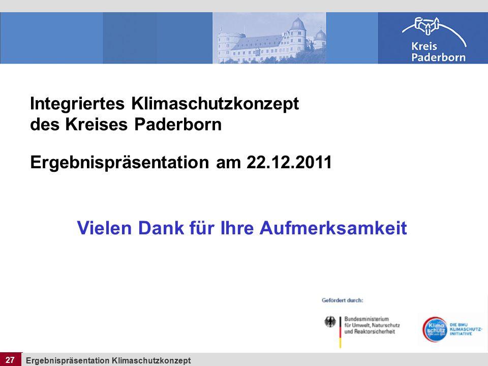 27 Ergebnispräsentation Klimaschutzkonzept 27 Integriertes Klimaschutzkonzept des Kreises Paderborn Ergebnispräsentation am 22.12.2011 Vielen Dank für Ihre Aufmerksamkeit