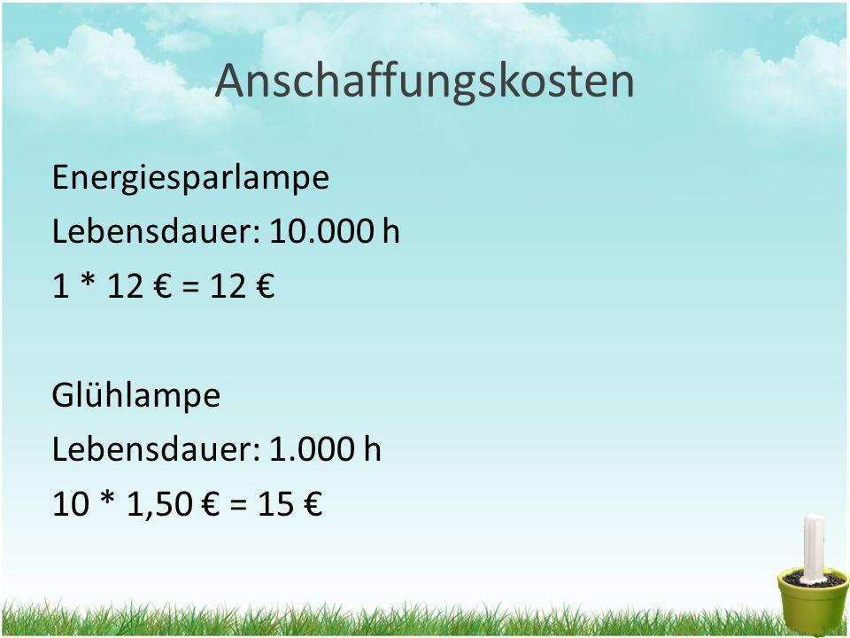 Anschaffungskosten Energiesparlampe Lebensdauer: 10.000 h 1 * 12 € = 12 € Glühlampe Lebensdauer: 1.000 h 10 * 1,50 € = 15 €
