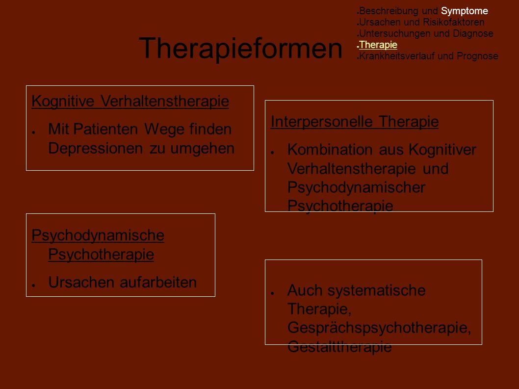 Therapieformen Kognitive Verhaltenstherapie ● Mit Patienten Wege finden Depressionen zu umgehen Psychodynamische Psychotherapie ● Ursachen aufarbeiten