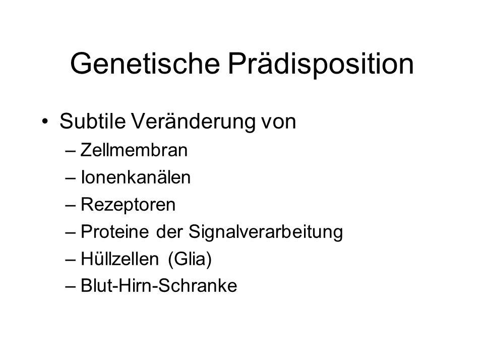 Genetische Prädisposition Subtile Veränderung von –Zellmembran –Ionenkanälen –Rezeptoren –Proteine der Signalverarbeitung –Hüllzellen (Glia) –Blut-Hirn-Schranke