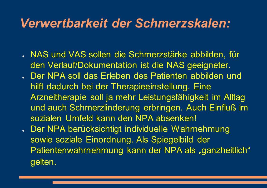 Verwertbarkeit der Schmerzskalen: ● NAS und VAS sollen die Schmerzstärke abbilden, für den Verlauf/Dokumentation ist die NAS geeigneter.