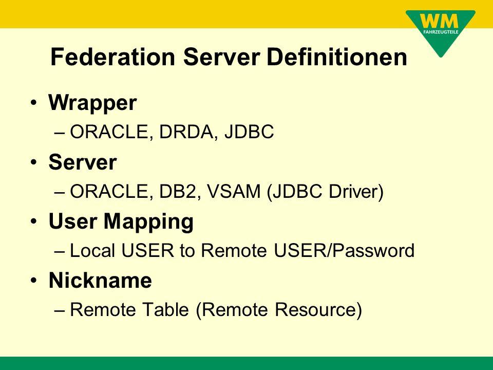 Federation Server Definitionen !! Nur noch für die, die es wirklich machen wollen.