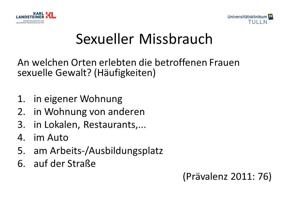 Sexueller Missbrauch An welchen Orten erlebten die betroffenen Frauen sexuelle Gewalt.