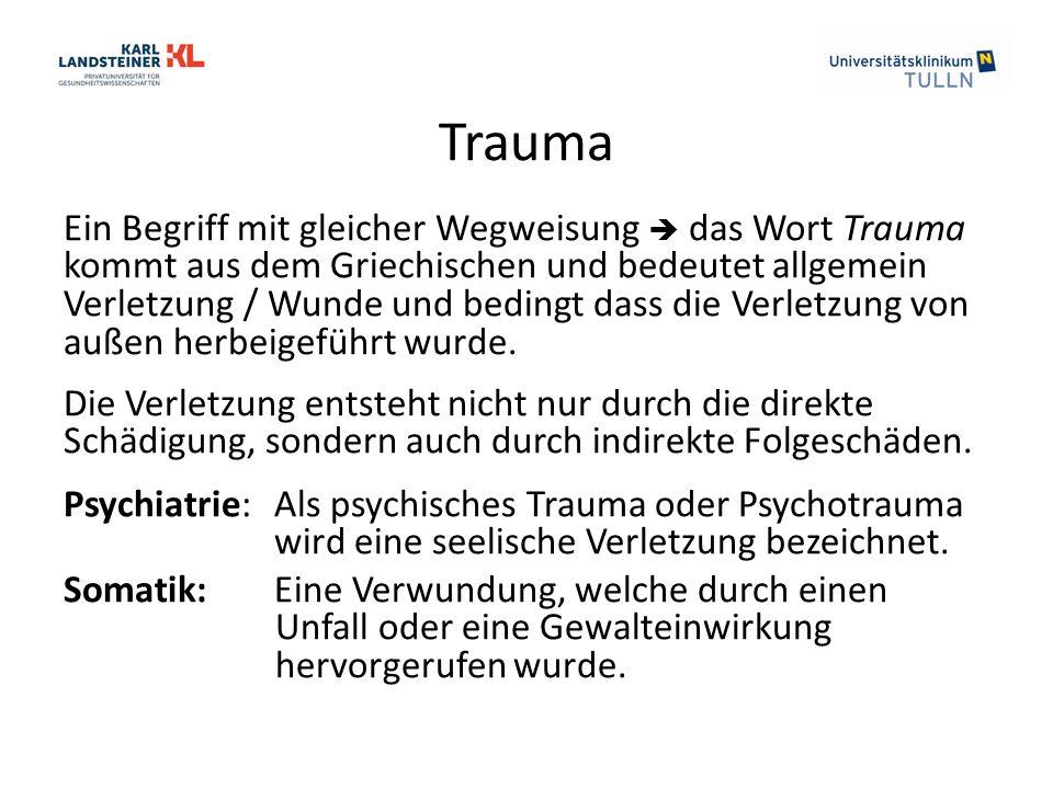 Trauma Ein Begriff mit gleicher Wegweisung  das Wort Trauma kommt aus dem Griechischen und bedeutet allgemein Verletzung / Wunde und bedingt dass die Verletzung von außen herbeigeführt wurde.