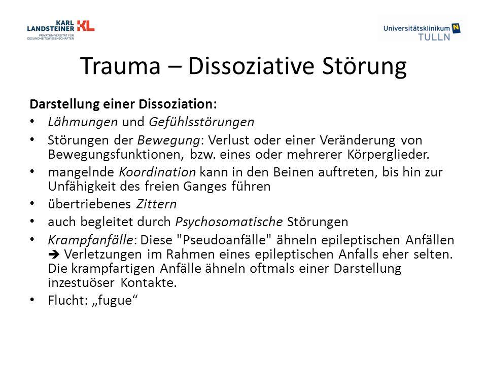 Trauma – Dissoziative Störung Darstellung einer Dissoziation: Lähmungen und Gefühlsstörungen Störungen der Bewegung: Verlust oder einer Veränderung von Bewegungsfunktionen, bzw.