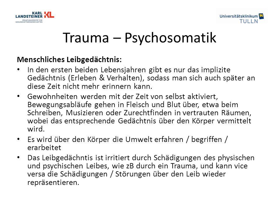 Trauma – Psychosomatik Menschliches Leibgedächtnis: In den ersten beiden Lebensjahren gibt es nur das implizite Gedächtnis (Erleben & Verhalten), sodass man sich auch später an diese Zeit nicht mehr erinnern kann.