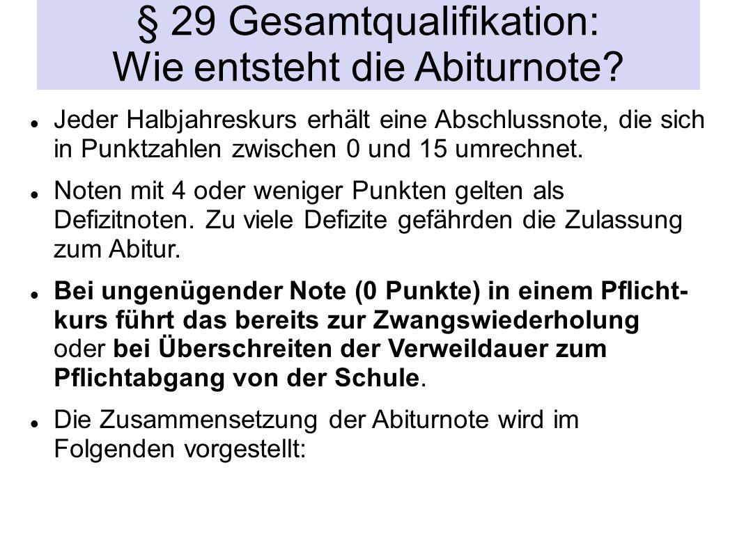 § 29 Gesamtqualifikation: Wie entsteht die Abiturnote.