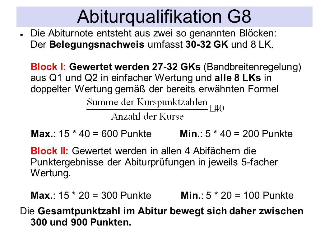Die Abiturnote entsteht aus zwei so genannten Blöcken: Der Belegungsnachweis umfasst 30-32 GK und 8 LK.