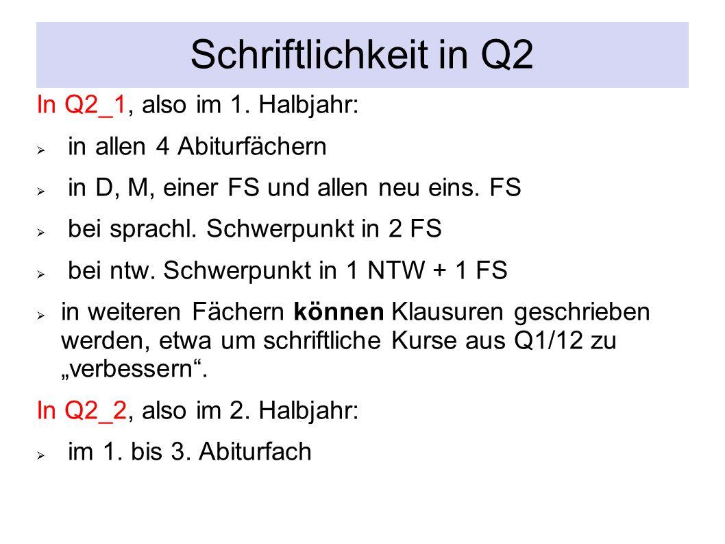 Schriftlichkeit in Q2 In Q2_1, also im 1.