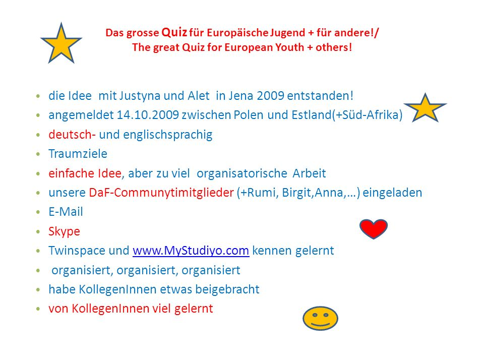 Das grosse Quiz für Europäische Jugend + für andere!/ The great Quiz for European Youth + others.