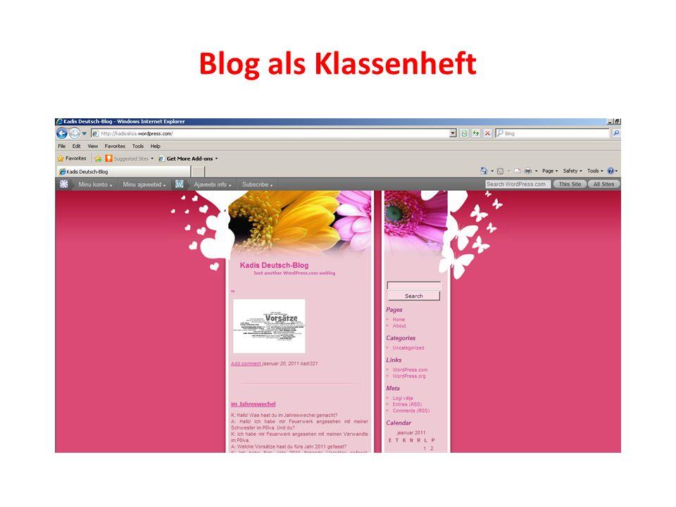 Blog als Klassenheft