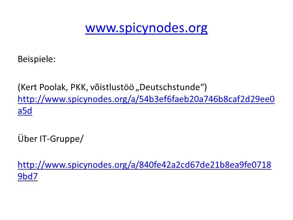 """www.spicynodes.org Beispiele: (Kert Poolak, PKK, võistlustöö """"Deutschstunde ) http://www.spicynodes.org/a/54b3ef6faeb20a746b8caf2d29ee0 a5d http://www.spicynodes.org/a/54b3ef6faeb20a746b8caf2d29ee0 a5d Über IT-Gruppe/ http://www.spicynodes.org/a/840fe42a2cd67de21b8ea9fe0718 9bd7 http://www.spicynodes.org/a/840fe42a2cd67de21b8ea9fe0718 9bd7"""