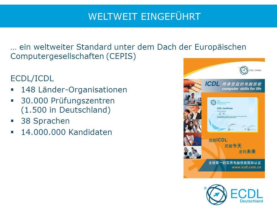 … ein weltweiter Standard unter dem Dach der Europäischen Computergesellschaften (CEPIS) ECDL/ICDL  148 Länder-Organisationen  30.000 Prüfungszentren (1.500 in Deutschland)  38 Sprachen  14.000.000 Kandidaten WELTWEIT EINGEFÜHRT
