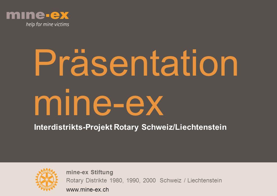mine-ex Stiftung Rotary Distrikte 1980, 1990, 2000 Schweiz / Liechtenstein www.mine-ex.ch Präsentation mine-ex Interdistrikts-Projekt Rotary Schweiz/Liechtenstein