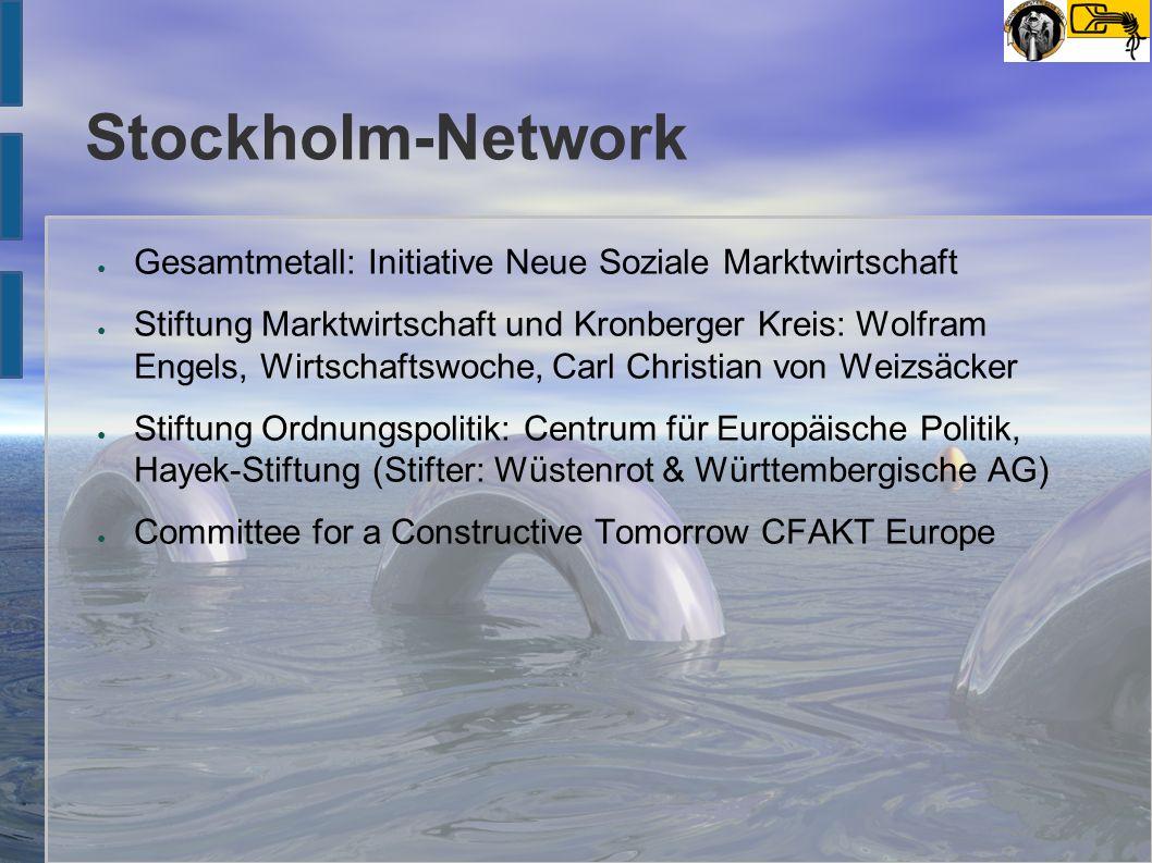 Stockholm-Network ● Gesamtmetall: Initiative Neue Soziale Marktwirtschaft ● Stiftung Marktwirtschaft und Kronberger Kreis: Wolfram Engels, Wirtschafts