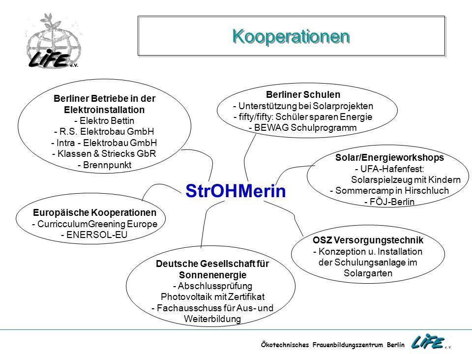 Ökotechnisches Frauenbildungszentrum Berlin Kooperationen StrOHMerin Europäische Kooperationen - CurricculumGreening Europe - ENERSOL-EU Berliner Schu