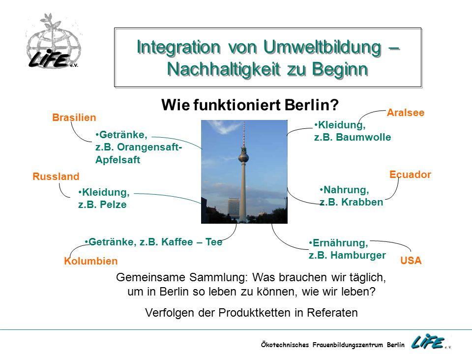 Ökotechnisches Frauenbildungszentrum Berlin Integration von Umweltbildung – Nachhaltigkeit zu Beginn Kleidung, z.B. Pelze Wie funktioniert Berlin? Kle